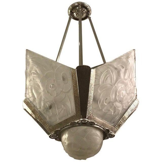 French Art Deco Floral Chandelier Signed by Degué For Sale - Image 12 of 12