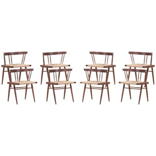 Set of Eight Grass Seated Dining Chairs by George Nakashima For Sale