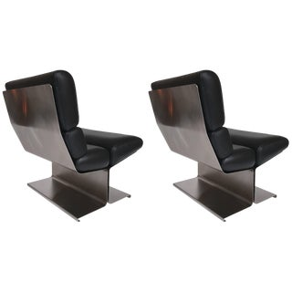 Pair of Lounge Chairs and Ottoman by Paul Geoffroy for Uginox, France, 1970s For Sale
