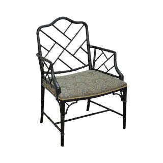 Chinese Chippendale Style Black Lacquer Painted Arm Chair For Sale