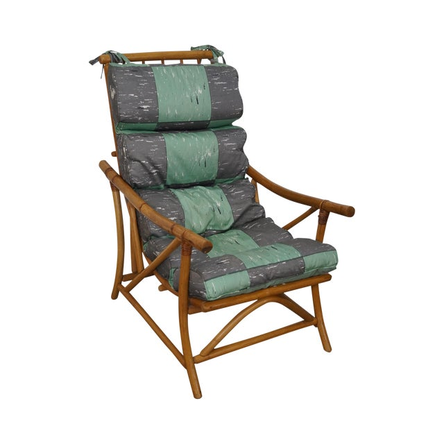 Mid-Century Rattan Frame High Back Lounge Chair - Image 1 of 10