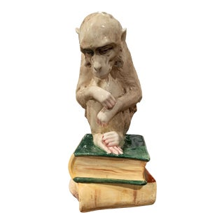 Mid-20th Century Painted Ceramic Barbotine Monkey Composition Sculpture For Sale