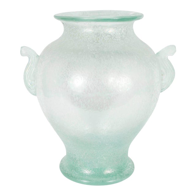 Handblown Murano Glass Vase With Scrolled Arms in the Manner of Karl Springer For Sale