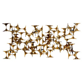 Mid Century Modern Marc Weinstein Brutalist Brass Metal Wall Sconce For Sale