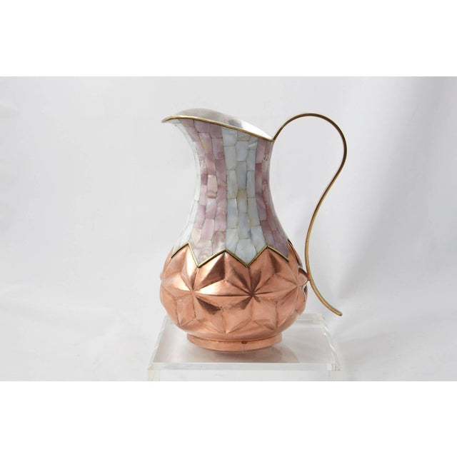 Mid-Century Modern Los Castillo Taxco Hammered Brass and Silver Plate Pitcher With Abalone Inlays For Sale - Image 3 of 11