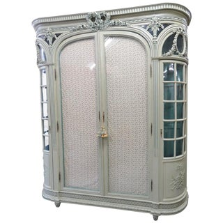 Monumental French Style Panted Cabinet For Sale