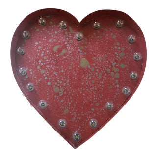 Lighted Red Metal Heart For Sale