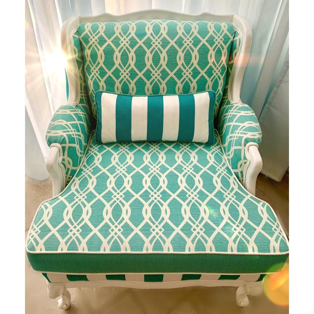 Turquoise Hollywood Regency Cabana Striped Chairs - a Pair For Sale - Image 8 of 13