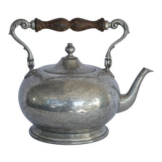 1990s Italian Pewter Teapot with Wood Handle