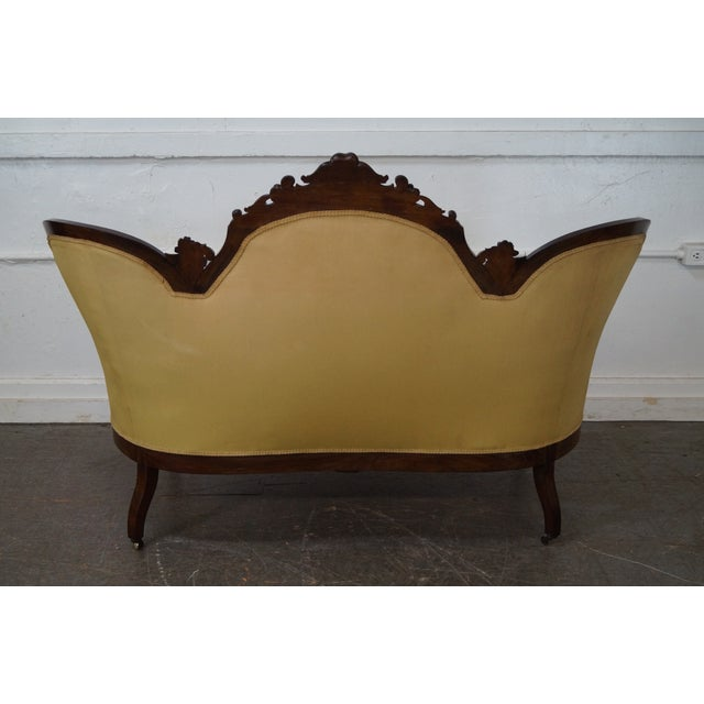 Antique 19th Century Victorian Carved Rosewood Settee Loveseat For Sale - Image 4 of 10