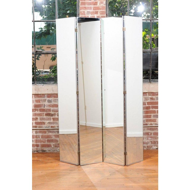 Machine Age Mirrored Four-Panel Screen For Sale In Atlanta - Image 6 of 10