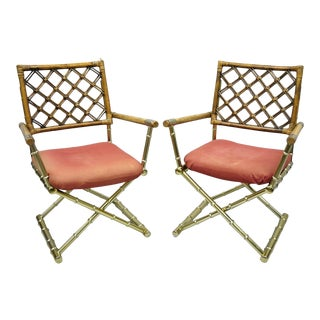 Late 20th Century Vintage Daystrom Brass Faux Bamboo Lattice Rattan Directors Arm Chairs- A Pair For Sale