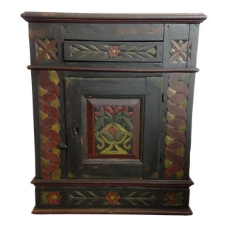 1850s Folk Art Aquavit Cabinet For Sale