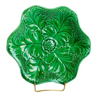 Late 19th Century Wedgwood Green Majolica Leaf Plate For Sale