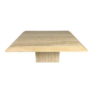 Mid-Century Square Italian Pedestal Coffee Table For Sale