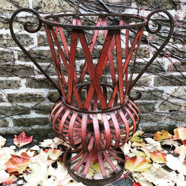 1960s Vintage Strap Iron Garden Urn For Sale In Chicago - Image 6 of 6
