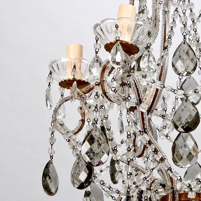 French Six Light All Crystal Beaded Chandelier With Smoke Color Drops - Image 9 of 10