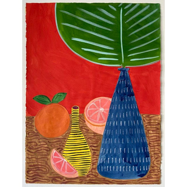 'Fan Leaf in a Red Room' is an original acrylic painted collage made with thick, rough textured, Arches 140 lb cotton rag...