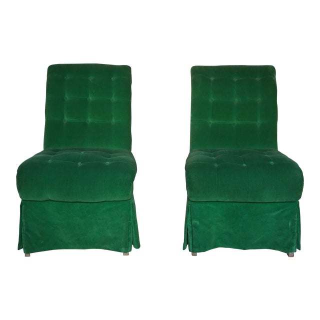 1970s Vintage Green Slipper Chairs - A Pair For Sale
