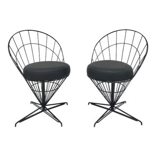 Verner Panton Style Swivel Wire Cone Chairs - a Pair For Sale
