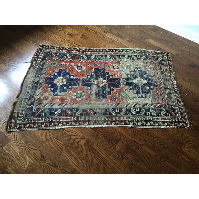 Antique Vintage Caucasian Rug - Image 4 of 7