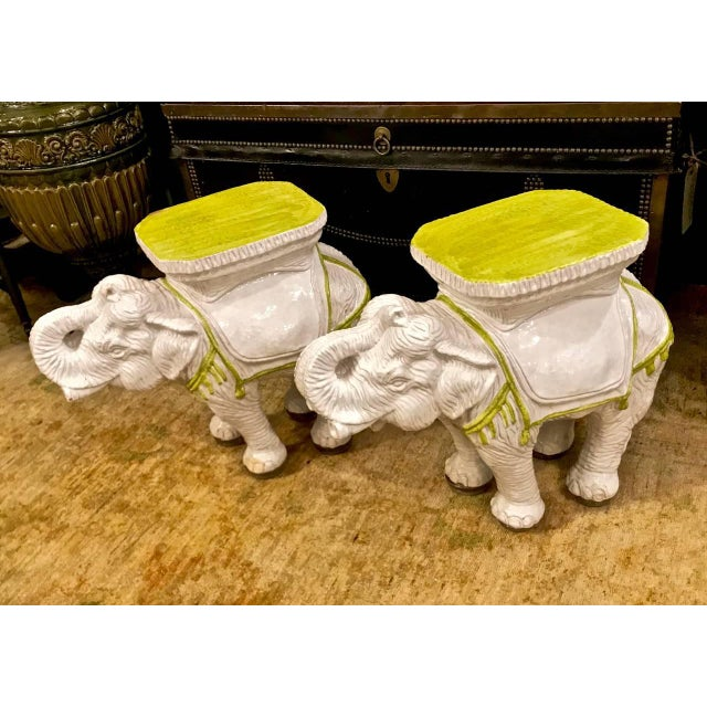 White Pair Italian Ceramic Chinoiserie Elephant Garden Stools or Tables For Sale - Image 8 of 9