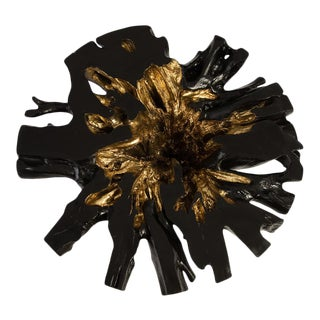 Phillips Collection Copse Coffee Table, Black, Gold Leaf For Sale