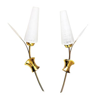 1960s French Brass Glass Maison Lunel Sconces Lucite Wall Lights - a Pair For Sale
