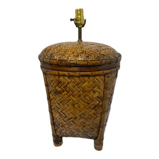 Vintage 1970s Woven Rattan Table Lamp For Sale