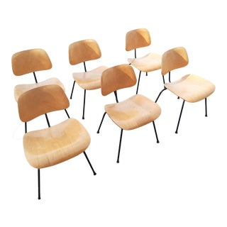 Charles Eames Dcm Bent Steel & Wood Chairs for Herman Miller For Sale