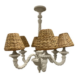Boho Chic Coastal Nautical Chic Chandelier With Wicker Seagrass Shades For Sale