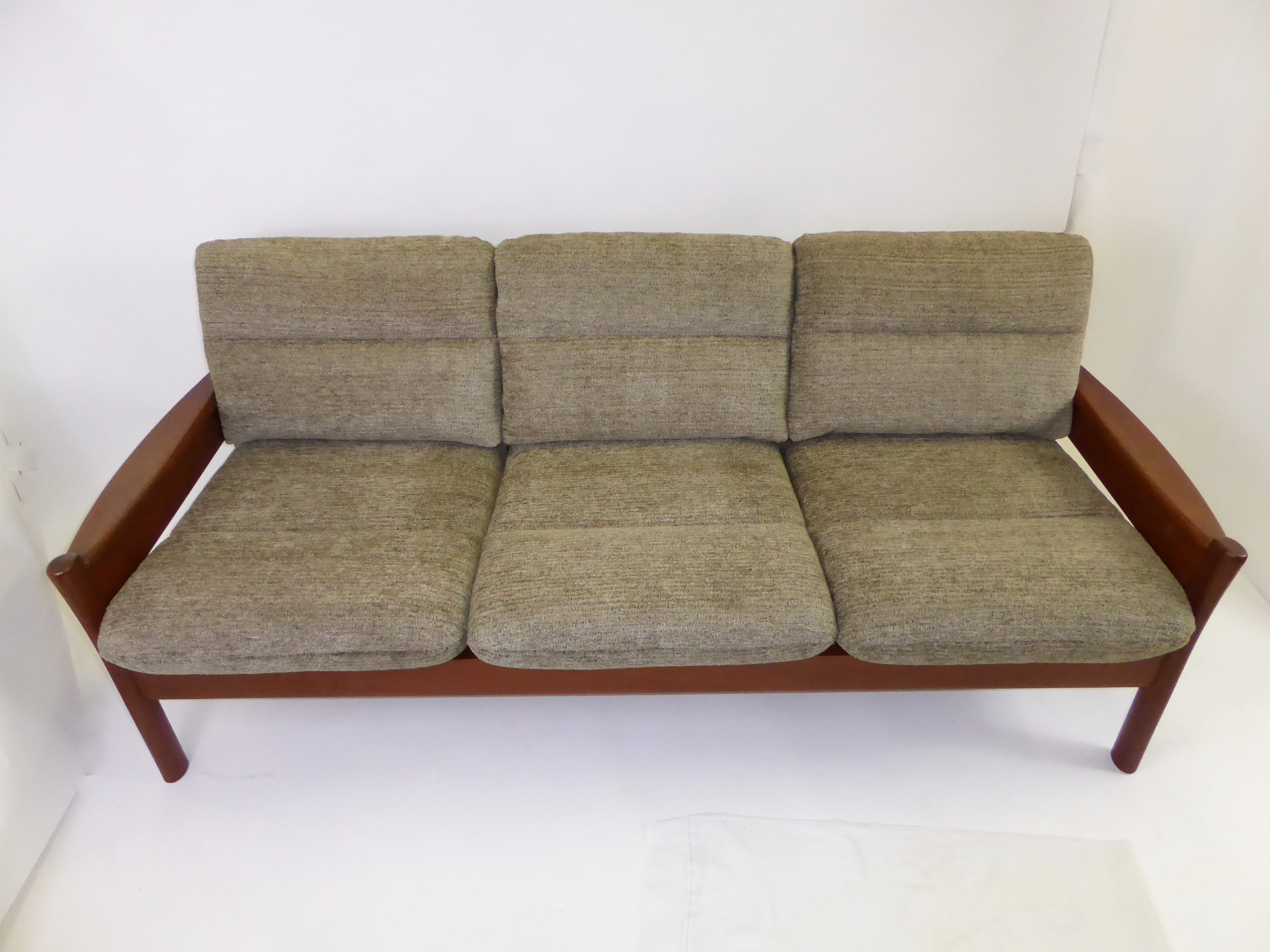 Fine Danish Modern 1960s Dyrlund Of Denmark Solid Teak Sofa With Fitted  Cushions In New Woven