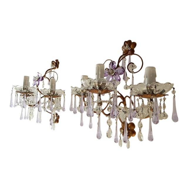 French Murano Drops Lavender Crystal Flowers Three-Light Sconces, circa 1920 For Sale