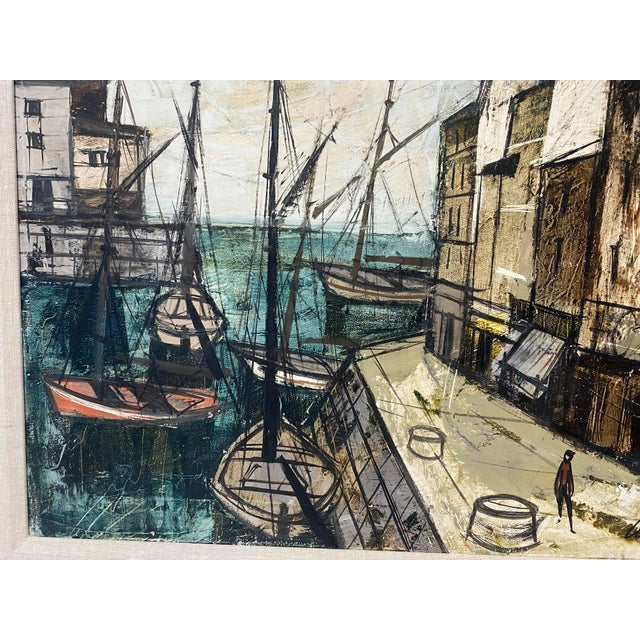 Canvas Mid-Century Modern Charles Levier Painting of French Port Scene With Boats For Sale - Image 7 of 12