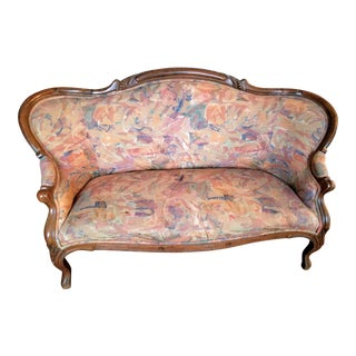 Mid 19th Century Antique Victorian Carved Walnut Loveseat For Sale