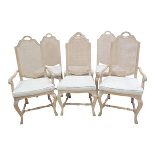 Cream Painted Caned Back Dining Chairs - Set of 6