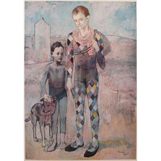 "1954 Portraiture Lithograph, ""Two Saltimbanques with a Dog"" by Picasso"