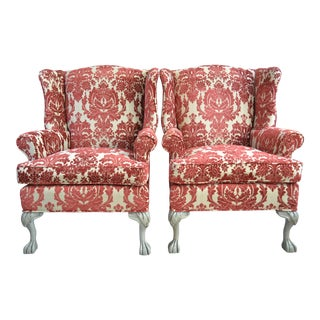 Crimson Medallion Wingback Chairs - A Pair For Sale
