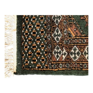 Vintage Wool Accent Rug in Green For Sale
