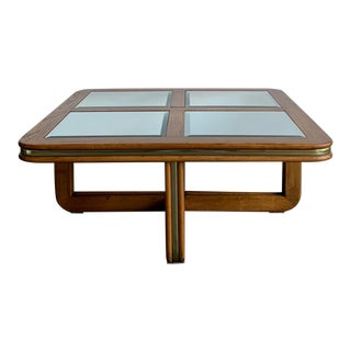 70s Oak Coffee Table With Mirrored Top For Sale