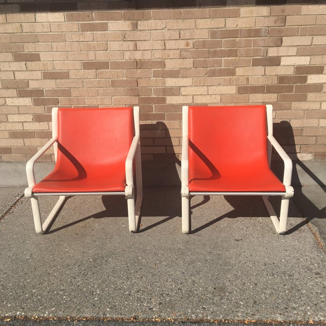 Knoll Iconic Orange Shell Lounge Chairs - A Pair For Sale - Image 5 of 8