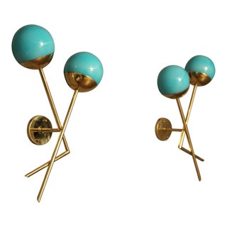 Pair of Italian Sconces in Turquoise Blue Murano Glass and Brass For Sale