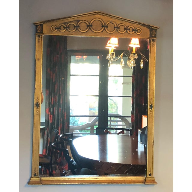 Metal Mid Century Deco Hollywood Regency Gold and Black Wood Wall Mirror For Sale - Image 7 of 7