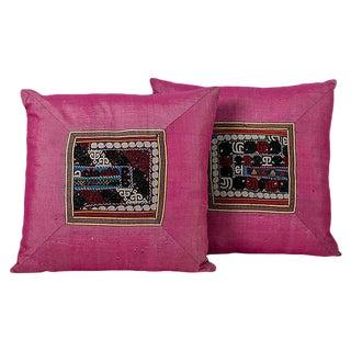 Pink Silk Suzani Appliqué Pillows - A Pair