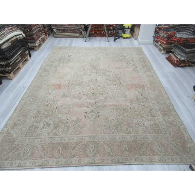 Islamic Persian Washed Out Tabriz Rug- 9′1″ × 12′6″ For Sale - Image 3 of 6