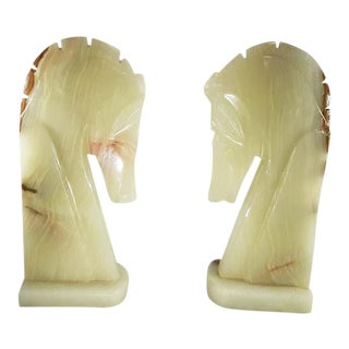 Mid-Century Modern White Onyx Horse Head Bookends - a Pair