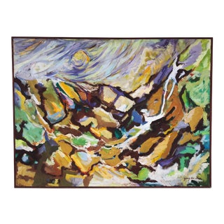 Large Scale Abstract Landscape Oil on Stretched Canvas by Young Hie Shin For Sale