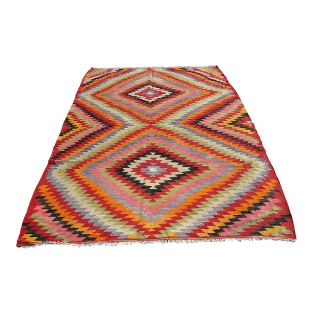 Vintage Turkish Kilim Rug - 5′5″ × 8′7″ For Sale
