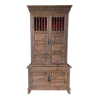 20th Century French Step Back Cupboard or Linen Press With Four Doors For Sale