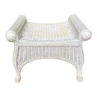 White Wicker Vanity Seat For Sale
